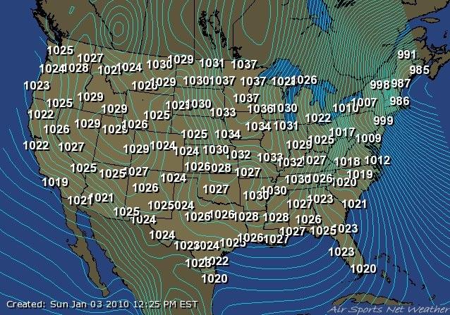 Barometric Pressure Map Us - Pressure map of us