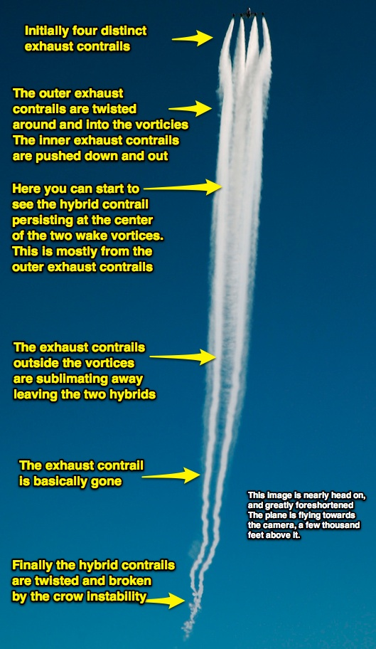 Development of a the hybrid portions of a contrail are shown from the initial four separate exhaust contrails, though to just the two hybrid contrails and crow instability breakup.