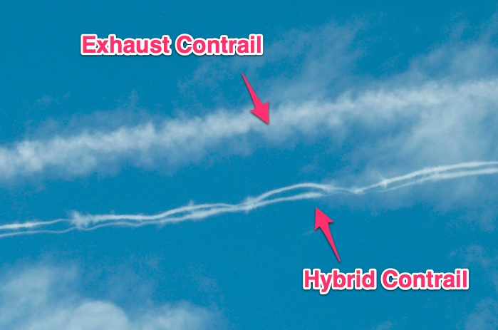 A hybrid contrail below the parent exhaust contrail. The larger ice crystals in the hybrid contrail have caused it to fall quicker than the Exhaust Contrail, leading to considerable separation, even though they were originally part of the same trail.